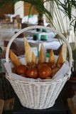 Assorted breads in a basket stock photos