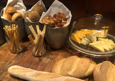 Assorted breads and cheese Stock Images