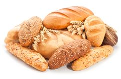 Assorted breads isolated on white background Stock Photos