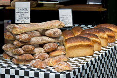 Assorted breads, rolls, baguettes for sale at the bakery Royalty Free Stock Image