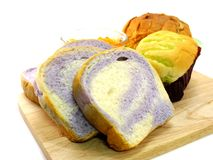 Assorted breads  on a white background Stock Photos