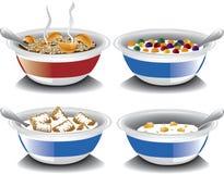Assorted breakfast cereals stock illustration