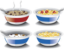 Assorted breakfast cereals. Illustration of an assortment of various breakfast cereals including hot oatmeal with raisins, corn puff cereal with strawberry, and Royalty Free Stock Image