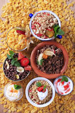 Assorted breakfast cereals Royalty Free Stock Photo