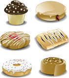 Assorted breakfast sweets vector illustration