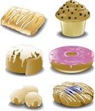 Assorted breakfast sweets stock illustration