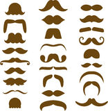 Assorted Brown Moustache Silhouettes Stock Photos