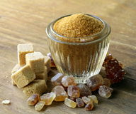 Assorted brown sugar - sand, crystal Stock Image