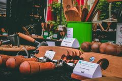 Assorted Brown Wooden Hand Tools Royalty Free Stock Images