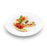 Assorted bruschetta with salmon, air-dry tomatoes or goat cheese Royalty Free Stock Photo