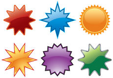 Assorted burst buttons. Assorted burst button icon symbols Royalty Free Stock Images