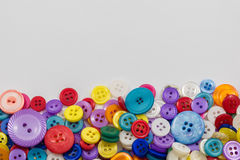 Assorted Buttons Background with copyspace Stock Photo
