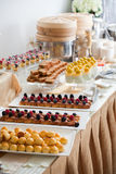 Assorted Canapés on Buffet. Buffet settings with different assorted canapés Royalty Free Stock Photos