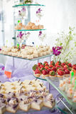 Assorted Canapés on Buffet. Buffet settings with different assorted canapés Stock Images