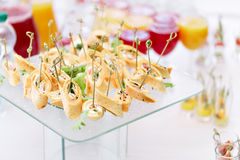 Assorted canape with cheese, meat, rolls, tortilla and fruit salad. Food to accompany the drinks. the buffet at the Royalty Free Stock Images
