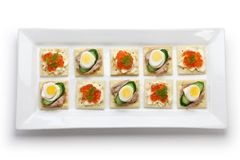 Assorted canape. Homemade party food royalty free stock photography