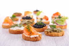 Assorted canape Royalty Free Stock Photos
