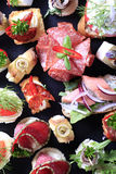 Assorted canapes Stock Photo