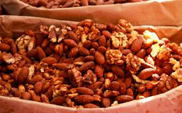 Assorted candied nuts and snacks. Selective focus Stock Images