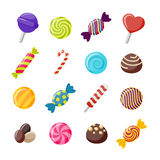 Assorted Candies Decorative Flat Icons Set Stock Photo