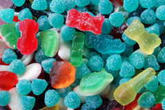 Assorted candy. Assorted colorful candy and gummy - background stock photo