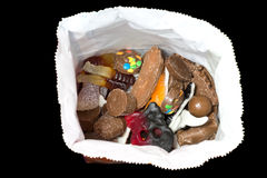 Assorted candy in a bag. Picture of some assorted candy in a candy bag stock photography
