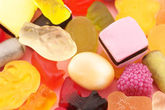 Assorted candy close-up. Heap of assorted colorful candy close-up royalty free stock photography