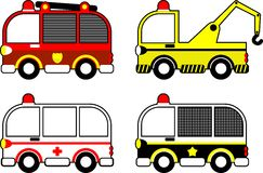 Assorted Cars. 4 Kinds of Transportation Fire Fighter Unit, Ambulance Unit, Police Unit, Carrier Unit Stock Photography