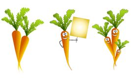 Assorted Cartoon Carrots royalty free illustration