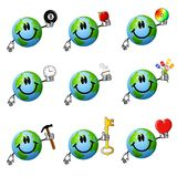 Assorted Cartoon Earth Smileys Royalty Free Stock Images