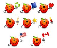 Assorted Cartoon Red Apples Royalty Free Stock Photography