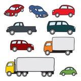 Assorted Cartoon Vehicles. An assortment of various types of cartoon cars and trucks Royalty Free Stock Photos