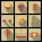 Assorted Cartooned Fitness Icons Stock Images