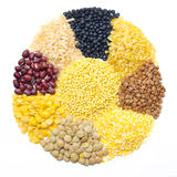 Assorted cereals and legumes in form of a circle isolated Stock Photography