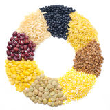 Assorted cereals and legumes in form of a circle Royalty Free Stock Photo