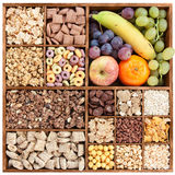 Assorted cereals in wooden box Royalty Free Stock Photography
