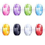 Assorted charm glass cut beads. Stock Photos