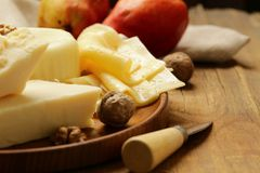 Assorted cheese board stock photos
