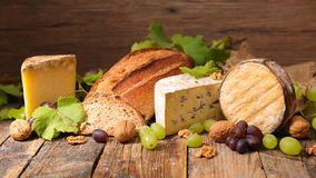 Assorted cheese and bread royalty free stock image