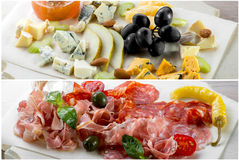 Assorted cheese and meat Royalty Free Stock Photography