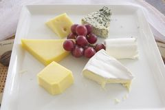 Assorted cheese on plate Royalty Free Stock Photo
