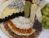 Assorted cheese platter royalty free stock photos