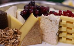 Assorted cheese platter in a table royalty free stock photo