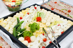 Assorted cheese platter. Hotel breakfast - assorted cheese platter Royalty Free Stock Photography