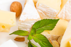 Assorted cheese platter with almonds closeup. Stock Photo