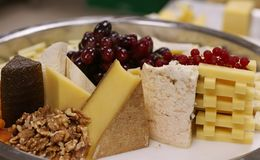 Assorted cheese platter stock images