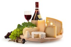 Assorted cheese and red wine Stock Images