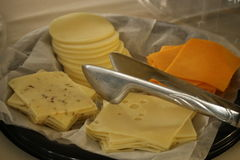 Assorted cheese slices Stock Photos