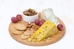 Assorted cheeses, grapes, crackers, jam, nuts Royalty Free Stock Images