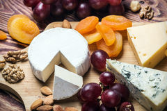 Assorted cheeses with nuts and dried fruits Stock Images